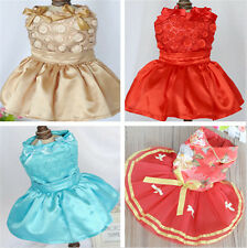 New small girl dog pet clothes apparel gauze bowtie flower skirt princess dress