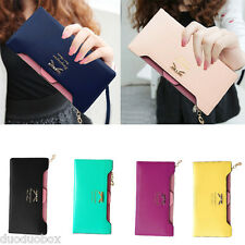 Women Girl Wallet PU Leather Coin Credit Card Holder Clutch Bag Purse Bowknot