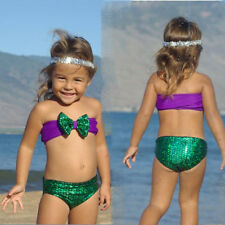 Princess Mermaid Baby Kids Girls Bowknot Sequins Bikini set Swimwear Swimsuit