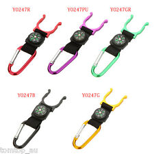 Camping Hiking Hook Carabiner Compass Water Bottle Buckle Holder Clip Portable
