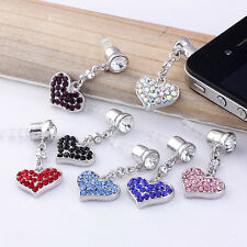Crystal Heart Dangle Earphone Anti Dust Jack Plug Stopper For iPhone Cell Phone