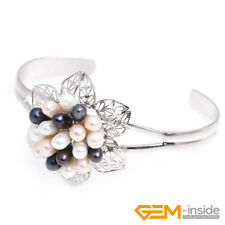 Natural Freshwater Pearl Beads White Gold Plated Base Bangle Bracelet Jewelry