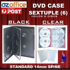 PREMIUM QUALITY Sextuple 6 Six DVD Case DVD Cover BLACK OR CLEAR 14mm Spine