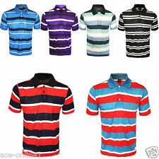 MEN NEW POLO SHIRT STRIPED T-SHIRT SHORT SLEEVE SIZE S - 2XL