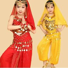 Children Kids Girls Indian Dance Belly Dance Costume Outfit Top Pants Bollywood