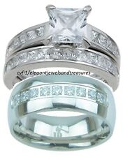 3Pc His Titanium Hers 925 Sterling Silver Cz Engagement Wedding Band Ring Set