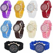 Trendy Crystal and Rose Gold Geneva Jelly Sports Watch Colorful Silicone Choices
