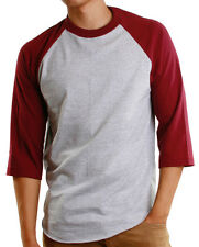 Mens 3/4 Raglan Sleeve Baseball T-Shirt, Athletic Casual Tees - Gray/Burgundy