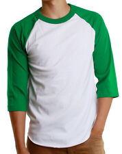 Mens 3/4 Raglan Sleeve Baseball T-Shirt, Athletic Casual Tees - White/Green