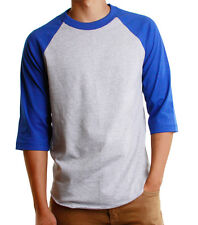 Mens 3/4 Raglan Sleeve Baseball T-Shirt, Athletic Casual Tees - Gray/Navy