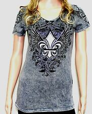 Vocal Fleur de lis Wings &  Swirls Rhinestone Shirt  Made in the USA