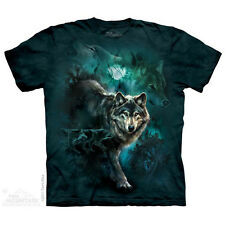 THE MOUNTAIN NIGHT WOLVES COLLAGE FIERCE ANIMALS NATURE MAJESTIC TEE SHIRT S-5XL