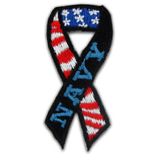 Navy Ribbon American Flag Embroidered Applique Sticker