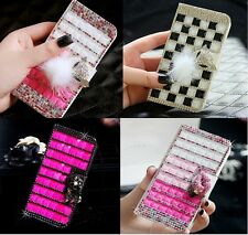 Colorful Elegant Bling Crystal Diamond Wallet PU Leather Case For HTC Phone