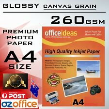 PREMIUM A4 Glossy Photo Paper Resin Coated CANVAS GRAIN 260GSM Epson HP Printers