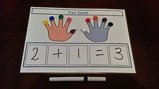 MY FIRST MATHS SUMS BOARD + COUNTERS TO HELP WITH WORKING OUT ANSWER- SEN KS1