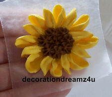 "10- 1 3/4"" Sugar Royal Icing Edible Sunflower Cake Cupcake Wedding Handmade"