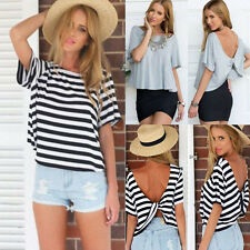 New Sexy Womens Summer Short Sleeve Loose Black White T Shirt Casual Tops Blouse