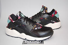 Nike Women's Air Huarache Run Print Black Artisan Teal Sail Floral Aloha New