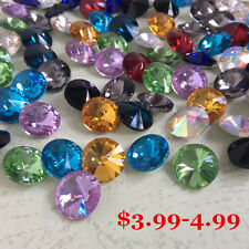 Mixed Colors Rivoli Rhinestones Crystal GLASS Point back Chatons Strass Silver