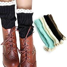 Women Girl Lace Crochet Short Boot Footless Cuffs Shoes Cover Leg Warmer Sock