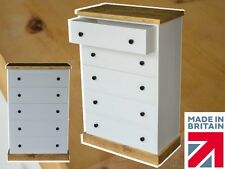 Solid Pine Chest of Drawers, White Painted & Waxed 5 Deep Rustic Drawer Storage
