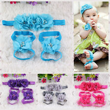1Set BabyGirls Barefoot Sandals First Walkers Baby Flower Shoes Headband Sandals