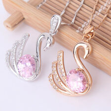 18k gold filled Pink Swarovski crystal lovely classic swan Pendant necklace 18""