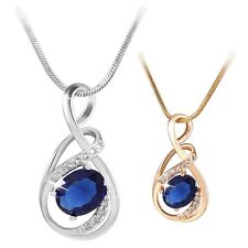 Unique fashion jewelry!18K white/yellow Gold filled pear blue Sapphire pendant