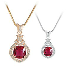 Unique pendant!18K white/yellow Gold filled Exclusive Red Ruby pendant