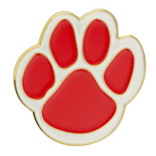 PinMart's Red and White Animal Paw Print School Mascot Enamel Lapel Pin