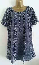 ExEV-NS Plus Size16-30 Tie Chiffon Floral Print Blue Tunic Top Blouse Tee Casual
