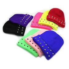 8 Colors Women Girl Candy Color Cap Autumn Winter Warm Rivet Knitted Woolen Hat
