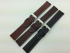 20mm Black Brown Tan Hadley Roma Genuine Leather Watch Band White Stitched MS906