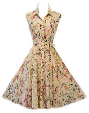 New 40's 50's Style Classic English Watercolour Floral Shirt Dress by Rosa Rosa