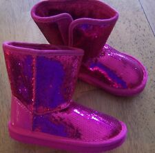 NWT Arizona Hot Pink Lil Sparkle Sequin Fur lined BOOTS TODDLER GIRL  8 M or 9 M