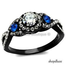 1.50 CT HALO ROUND CUT CZ BLACK STAINLESS STEEL ENGAGEMENT WEDDING RING SZ 5-10
