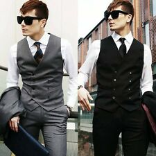 HOT Luxury Top Design Mens Casual Double-breasted Slim Suit Tuxedo Dress Vest