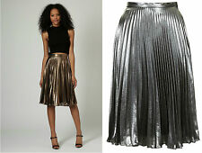 ex TOPSHOP Skirt - Topshop Metallic Pleated Midi Skirt - RRP £60