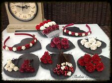 DEEP RED/BURGUNDY/IVORY ROSE WEDDING HAIR ACCESSORIES*Aliceband*Comb*Pins*Grips