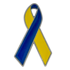 Blue and Yellow Down Syndrome Awareness Ribbon Lapel Pin