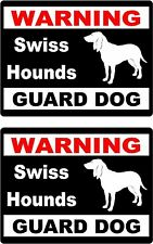 2 Warning Swiss Hounds Guard dog car windows bumper vinyl decals stickers