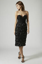 Topshop Plunge Front Midi Dress by Rare London - Black - RRP £59 - New