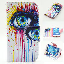 Flip Eye Magnetic Stand Skin Wallet Leather Case Cover For Samsung Galaxy Phone