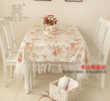 Shabby Chic Cottage Farmhouse Floral Table Cloth Cover White with Ruffles Cotton