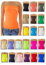 Strapless Tube Top long Bandeau Seamless Stretch Ribbed Basic Top One Size