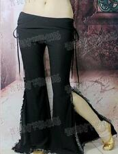 Belly Dance costume trousers with attached skirt yoga flared pants leg opening
