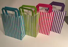 CANDY STRIPE PAPER GIFT BAGS WITH FLAT HANDLES **Choose Colour/Size/Quantity**