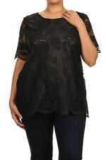 Crochet Top Blouse Sweater  Summer Size 1X 2X 3X New Lace Top NWT