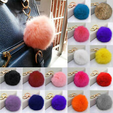 Lovely Luxury Rabbit Fur Soft Ball PomPom Car Keychain Handbag Charm Key Ring